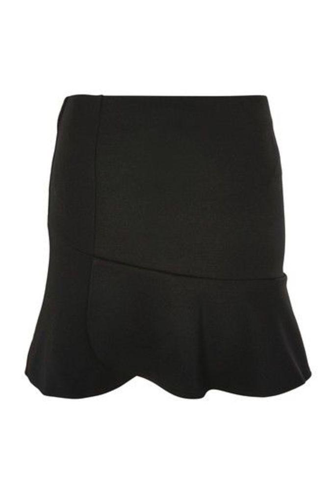 Womens Panelled Flippy Skirt - Black, Black