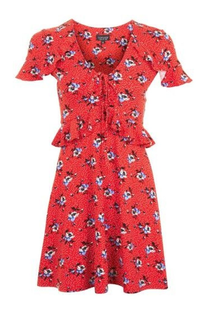 Womens PETITE Red Floral Spot Dress - Red, Red