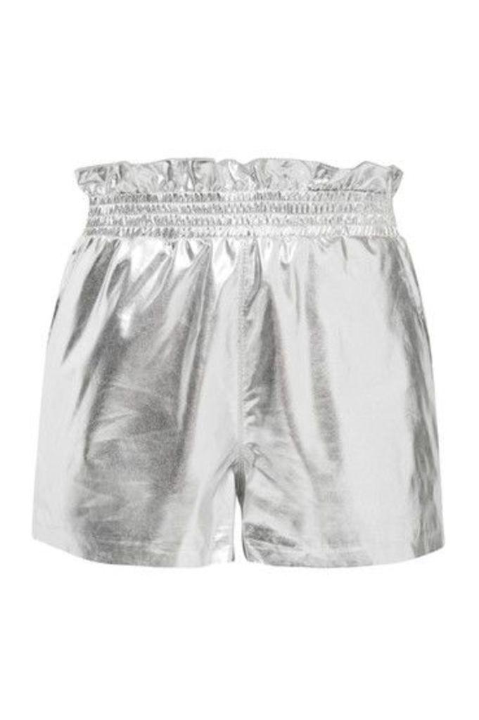 Womens PU Paper Bag Shorts - Silver, Silver