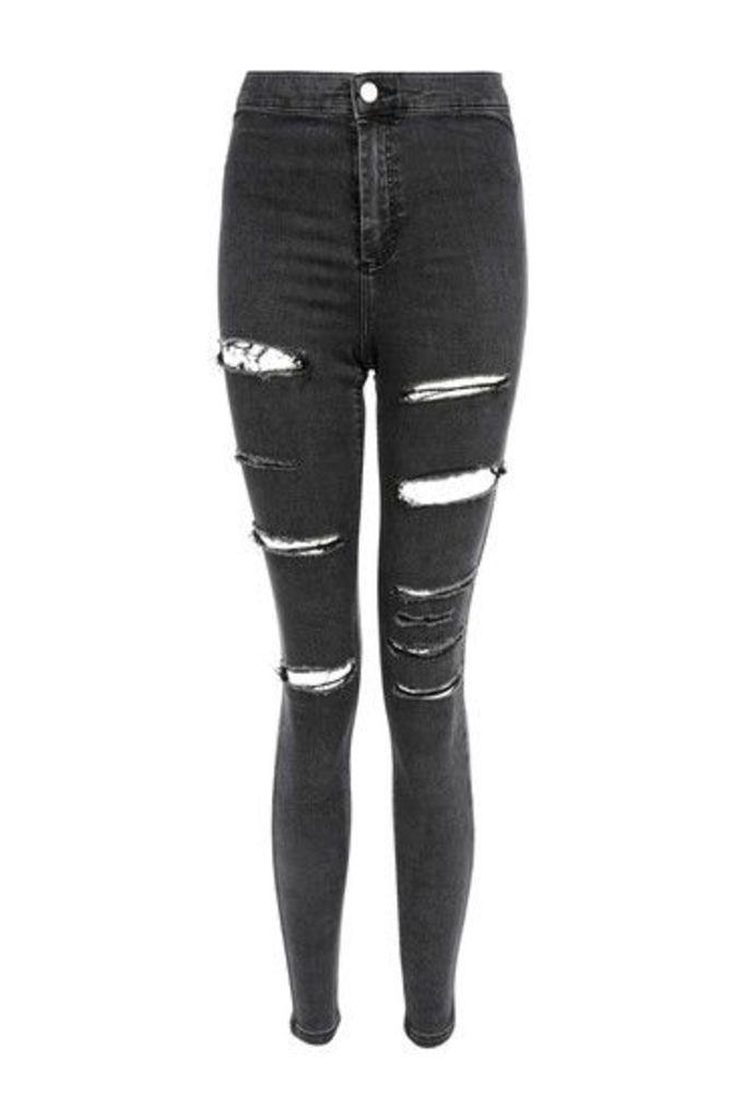 Womens MOTO Washed Black Ripped Joni Jeans - Washed Black, Washed Black