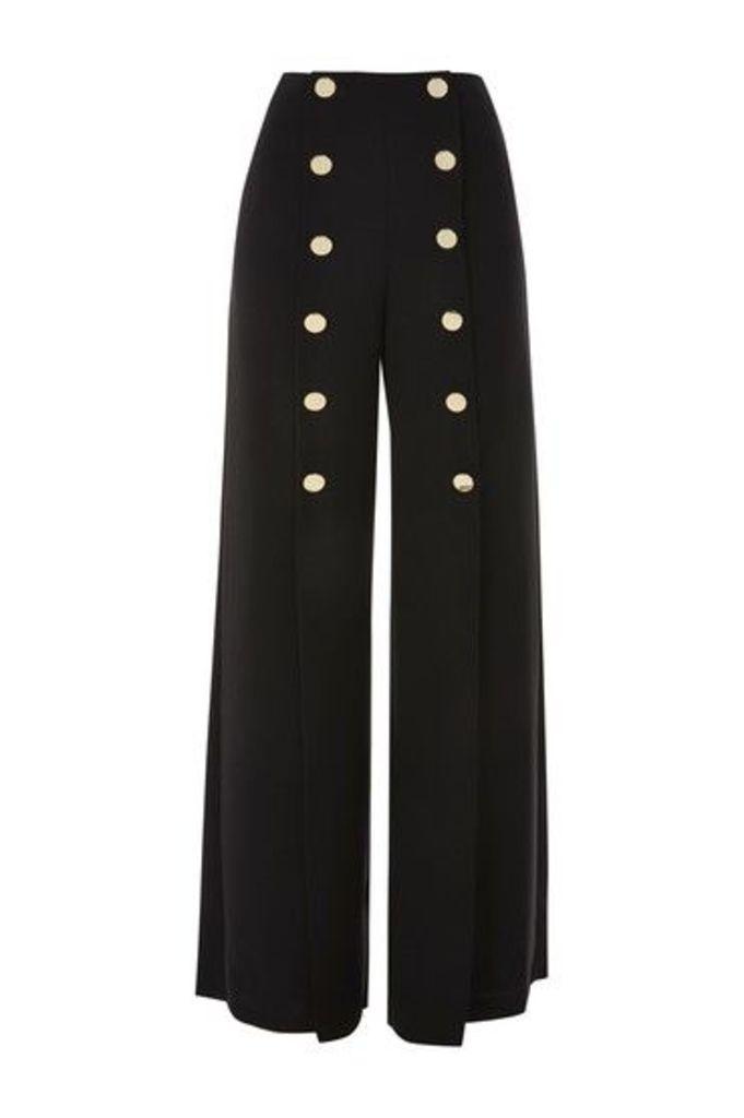 Womens Gold Tone Button Wide Leg Trousers - Black, Black