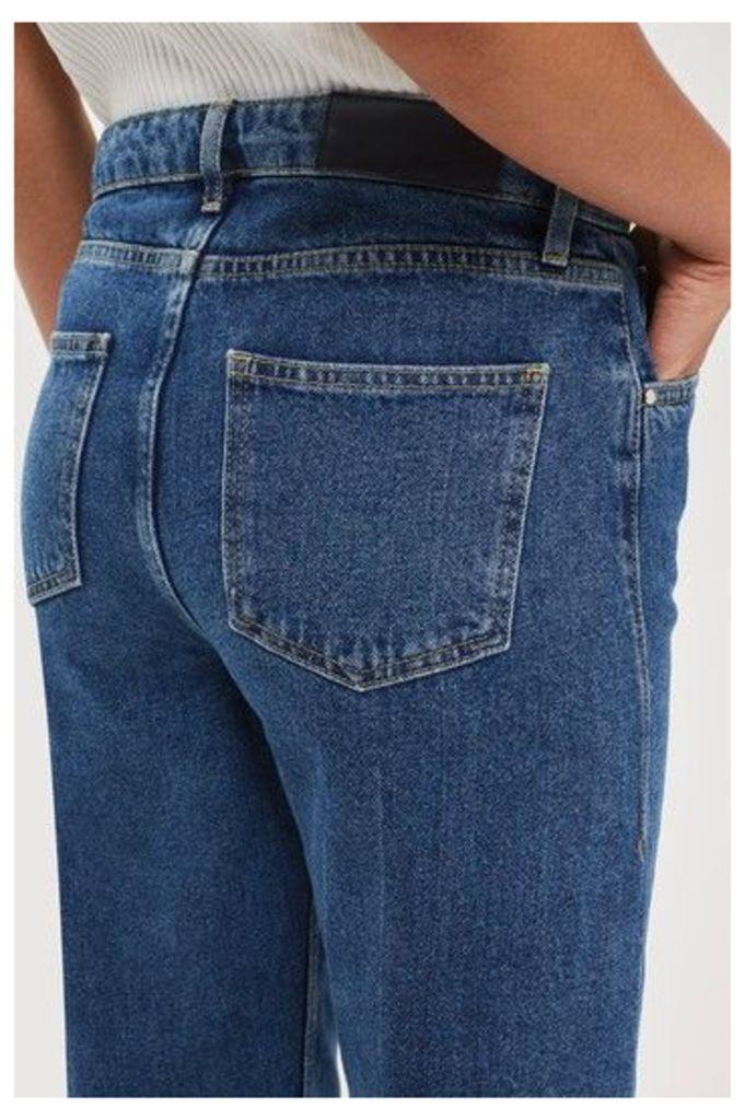 Womens Mid Wash Wide Leg Crop Jeans by Boutique - Blue, Blue