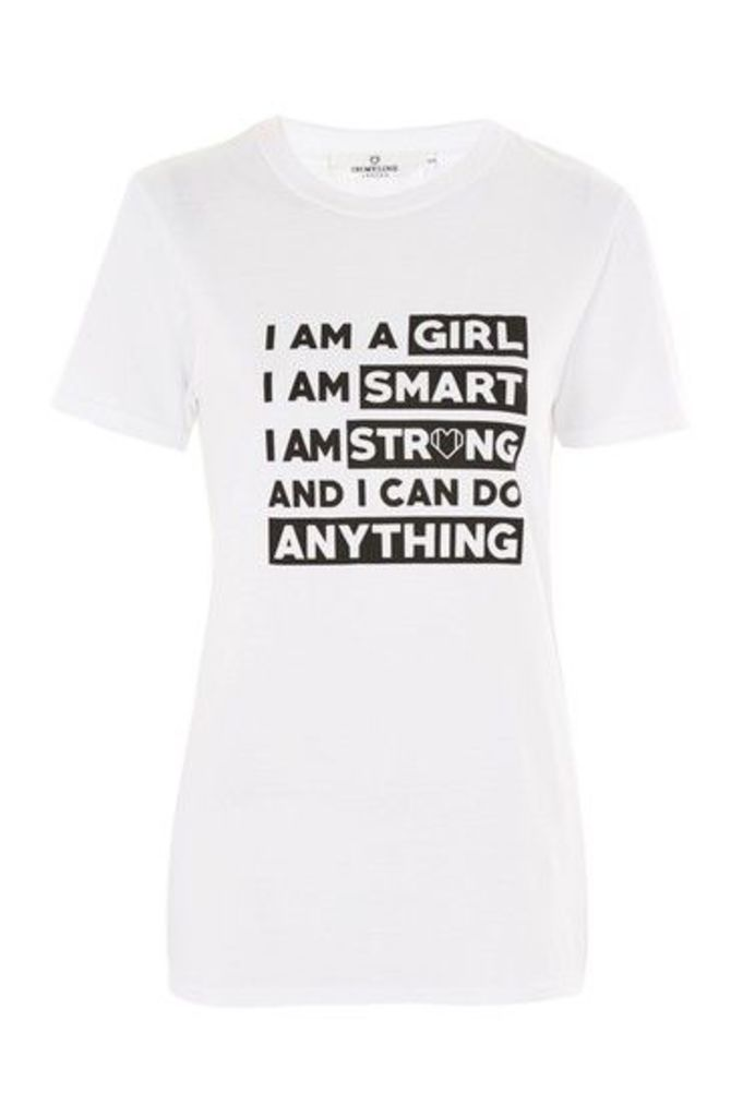 Womens **'I Am A Girl' Slogan T-Shirt by Oh My Love - White, White