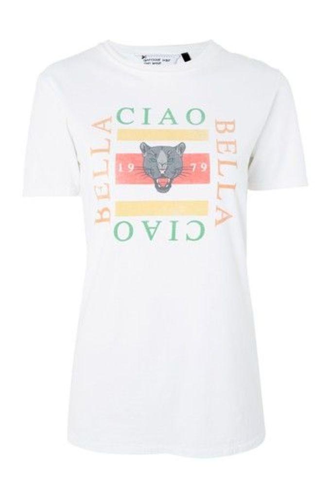 Womens 'Ciao Bella' Panther Motif T-Shirt by Tee & Cake - Ecru, Ecru