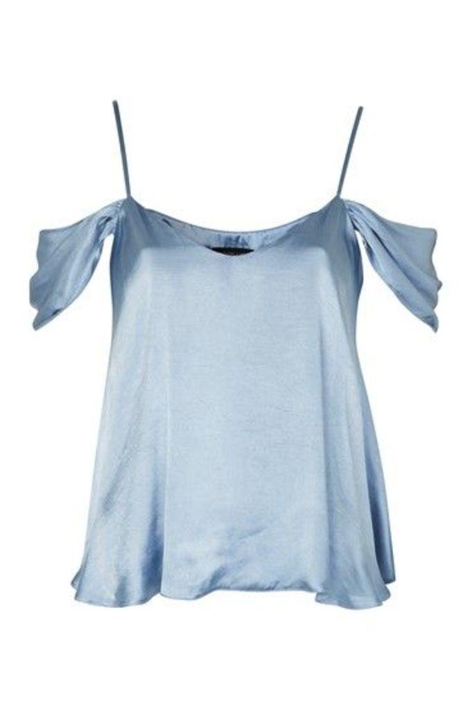 Womens Satin Rouleau Cold Shoulder Camisole Top - Pale Blue, Pale Blue