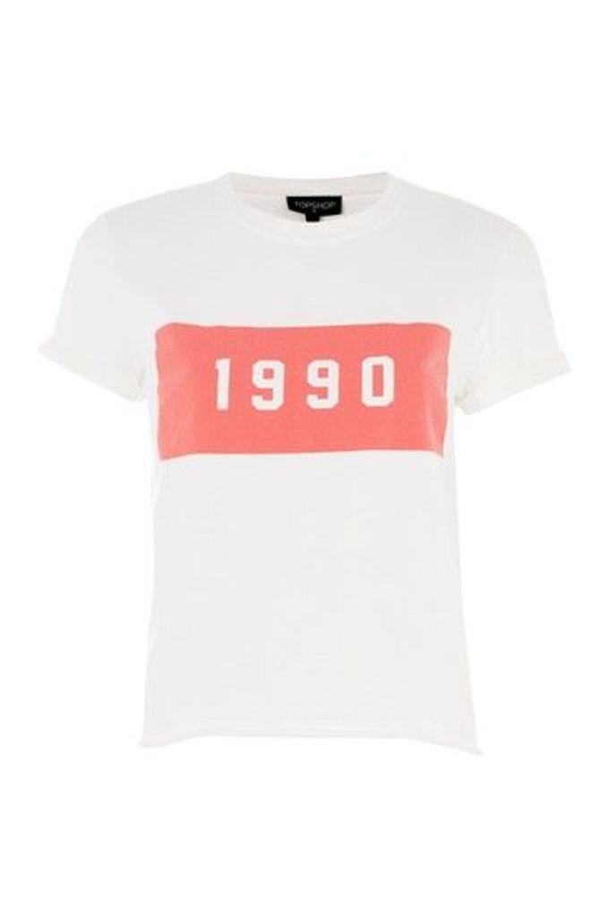 Womens PETITE '1990' Washed T-Shirt - White, White