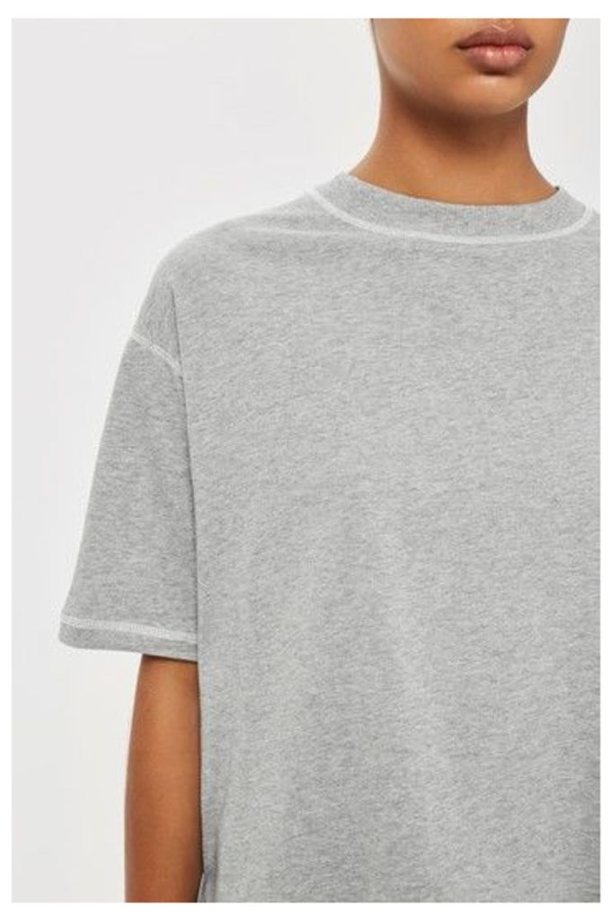 Womens Contrast Stitch Boyfriend T-Shirt by Boutique - Grey, Grey