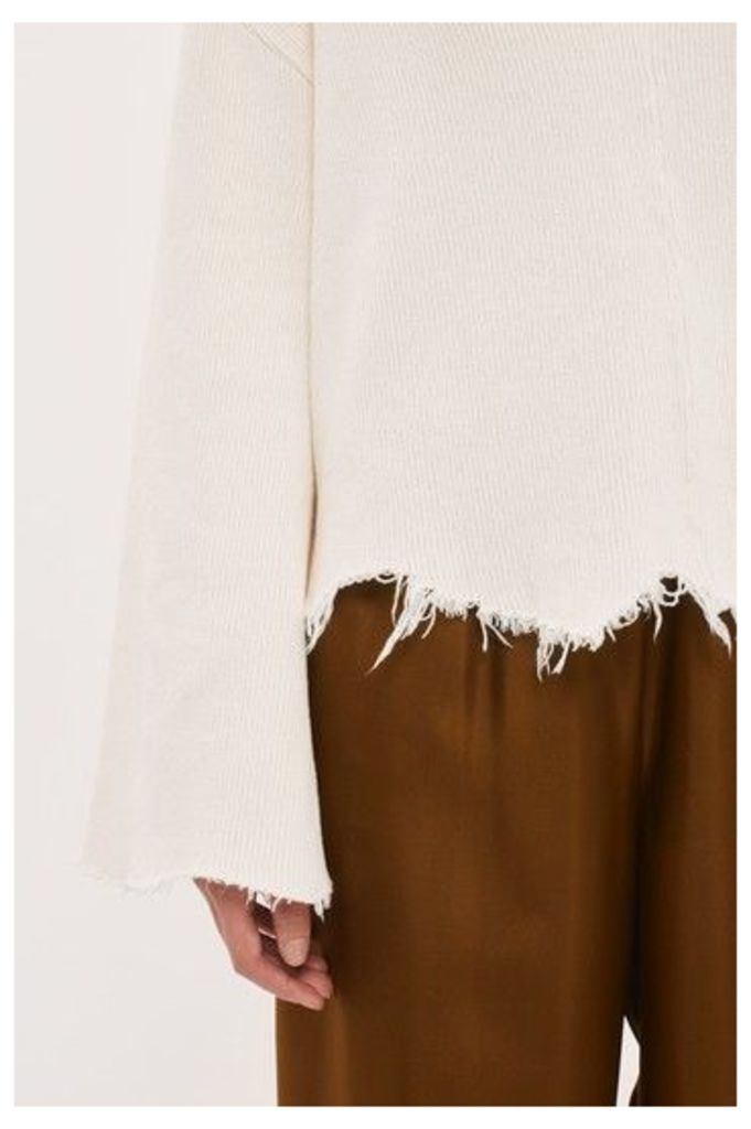 Womens Raw Hem Flare Knit Jumper by Boutique - Ivory, Ivory