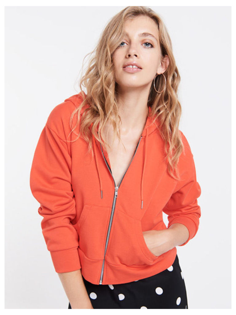 Orange Cropped Boxy Hoodie