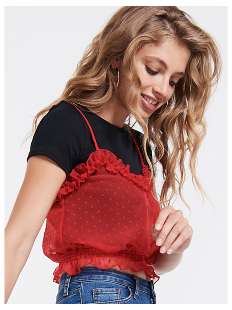 Red Dobby Mesh Spotted Ruffle Cami Crop Top
