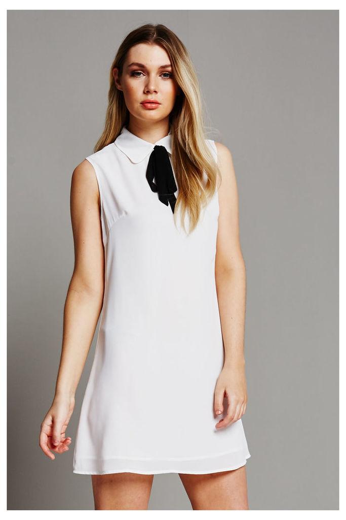 Fashion Union Tie Detail Sleeveless Dress - White