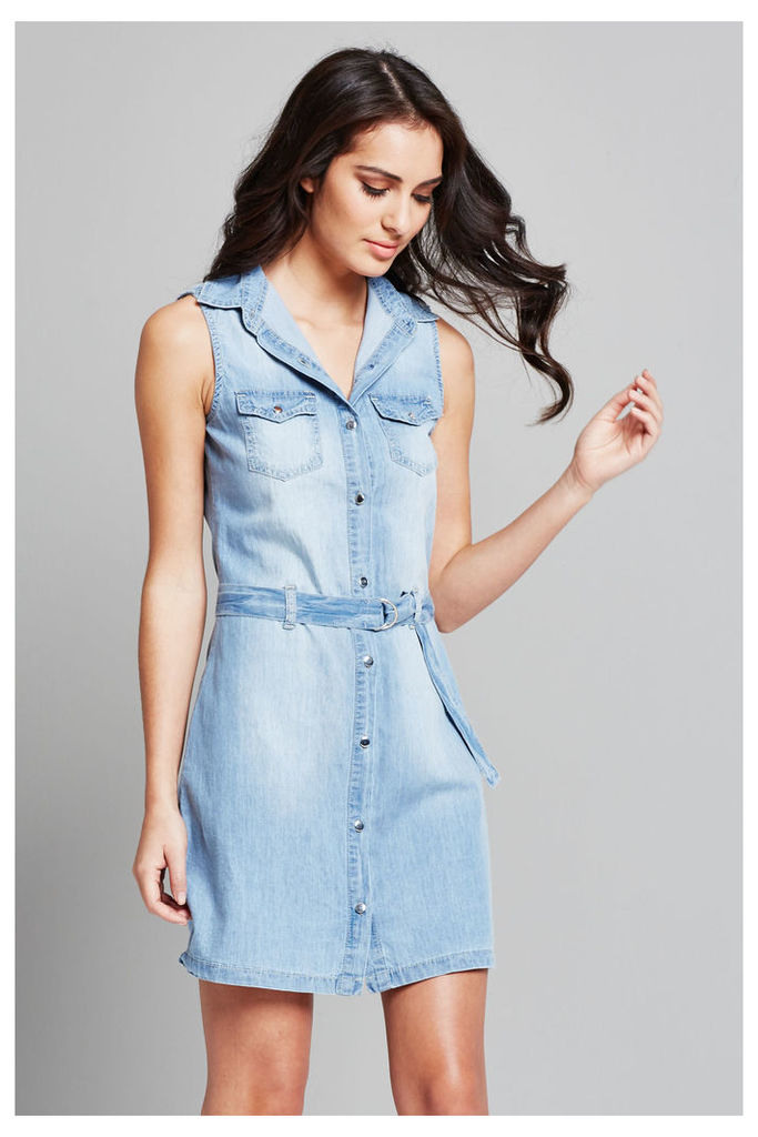 Parisian Belted Denim Dress - Blue