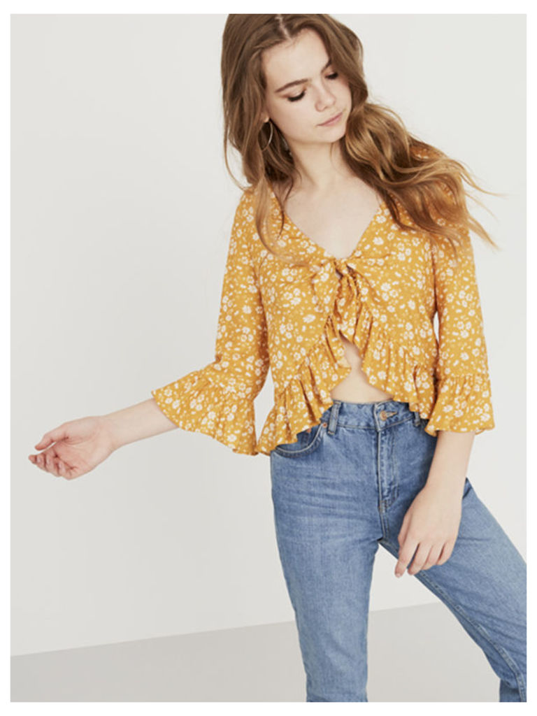 Yellow Mindy Ditsy Tie Front Swing Top