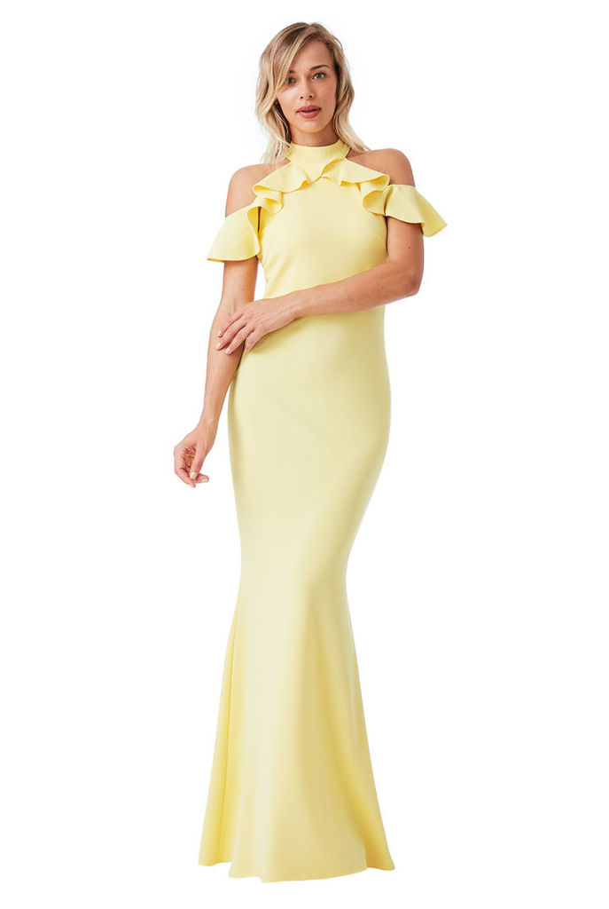 Cut Out Maxi Dress with Frill Detail - Yellow