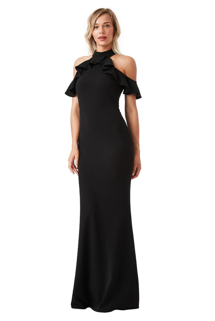 Cut Out Maxi Dress with Frill Detail - Black