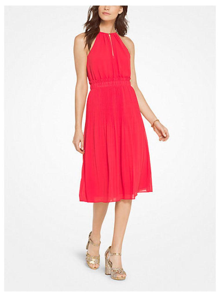 Georgette Pleated Halter Dress