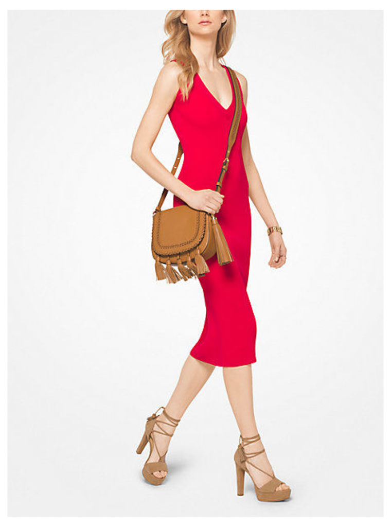 Ribbed V-Neck Dress