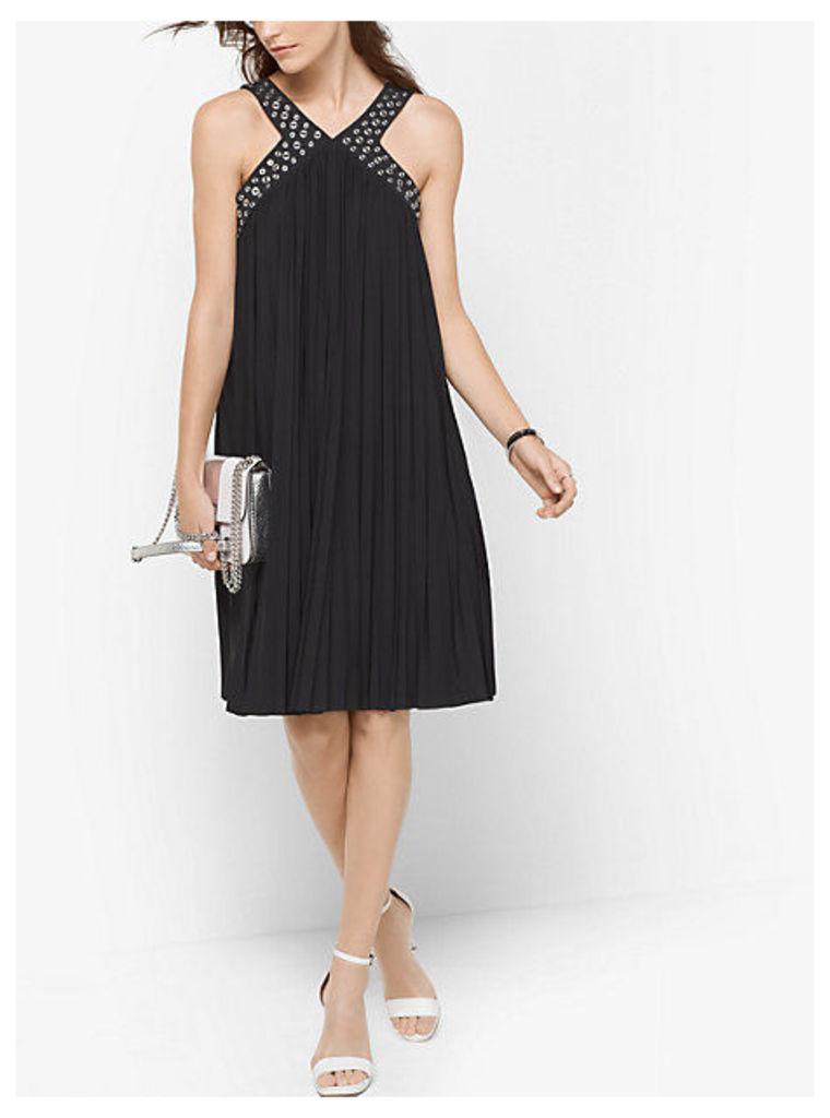 Grommet-Embellished Pleated A-Line Dress