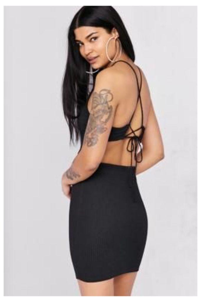 Silence + Noise Cutout Strappy Back Bodycon Mini Dress, BLACK