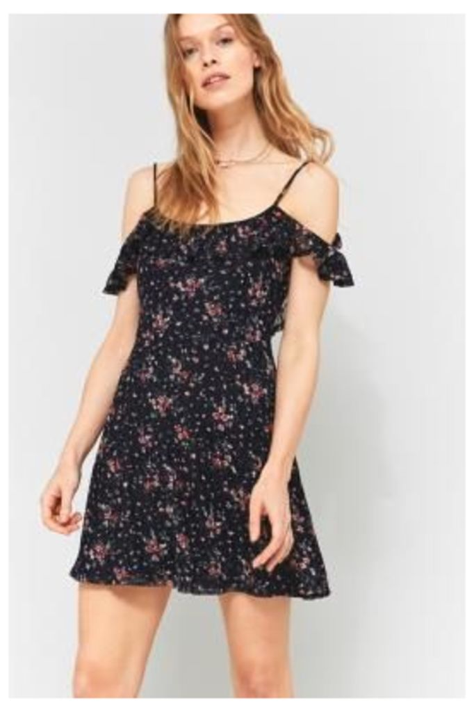 Pins & Needles Floral Lace Ruffle Cold Shoulder Dress, NAVY