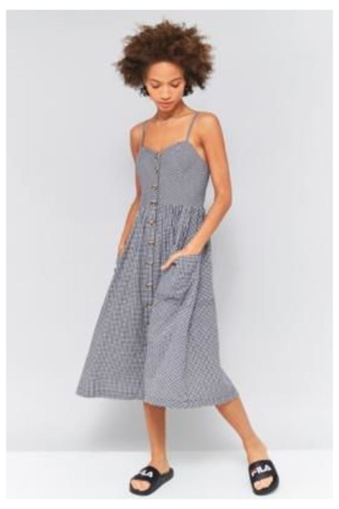 Urban Outfitters Emilia Gingham Button-Down Dress, NAVY