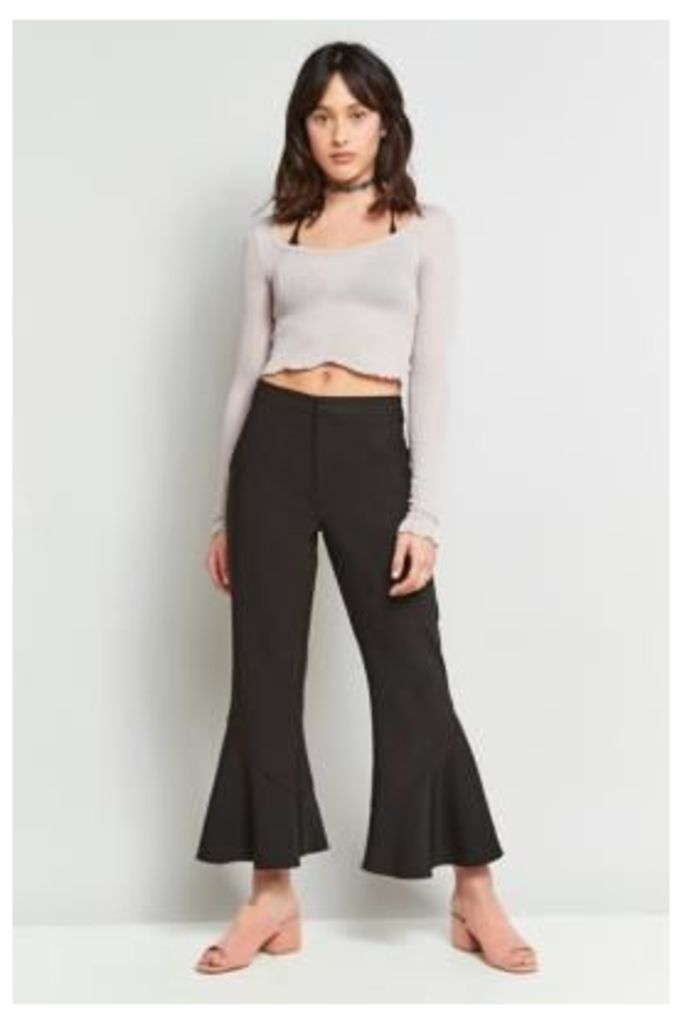 Light Before Dark Fluted Cropped Trousers, BLACK