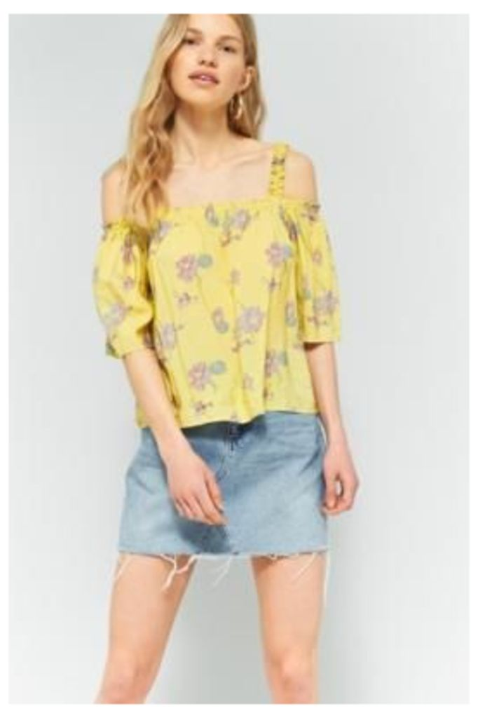 Pins & Needles Floral Gathered Cold Shoulder Top, YELLOW