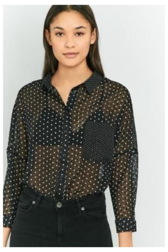Sparkle & Fade Spot Chiffon Long Sleeve Top, BLACK
