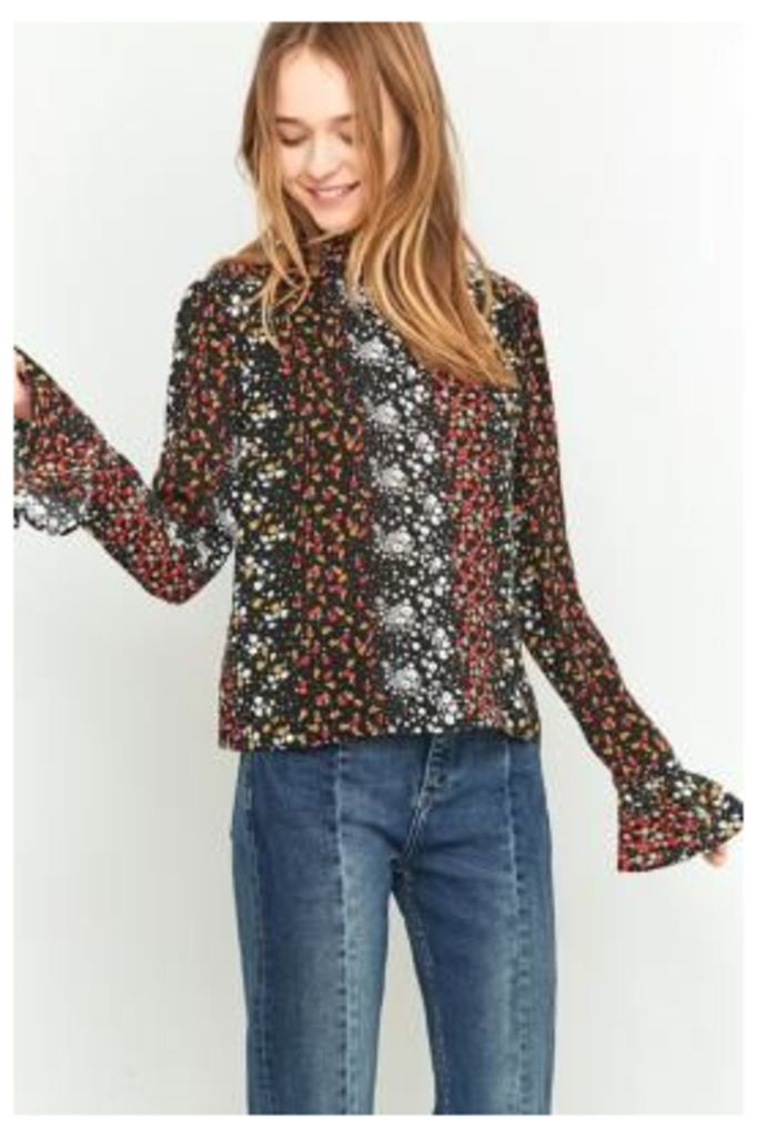 Urban Outfitters Pin Tuck Floral Black Blouse, BLACK MULTI