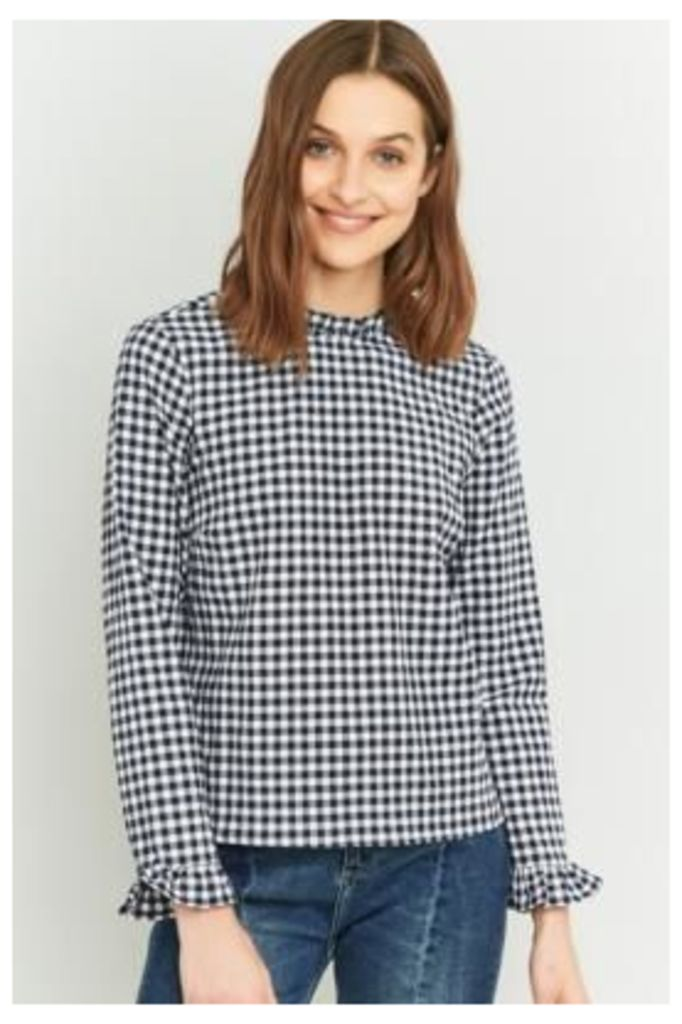 Urban Outfitters Blue Gingham Ruffle Blouse, BLUE