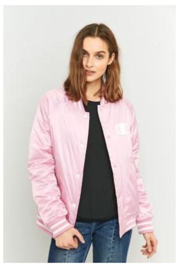 Champion Pink Satin Bomber Jacket, PINK