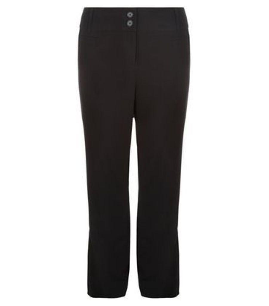 Curves Black Pleat Front Trousers