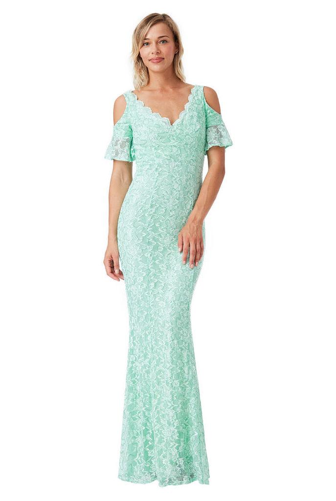 Cut Out Lace Maxi Dress - Mint