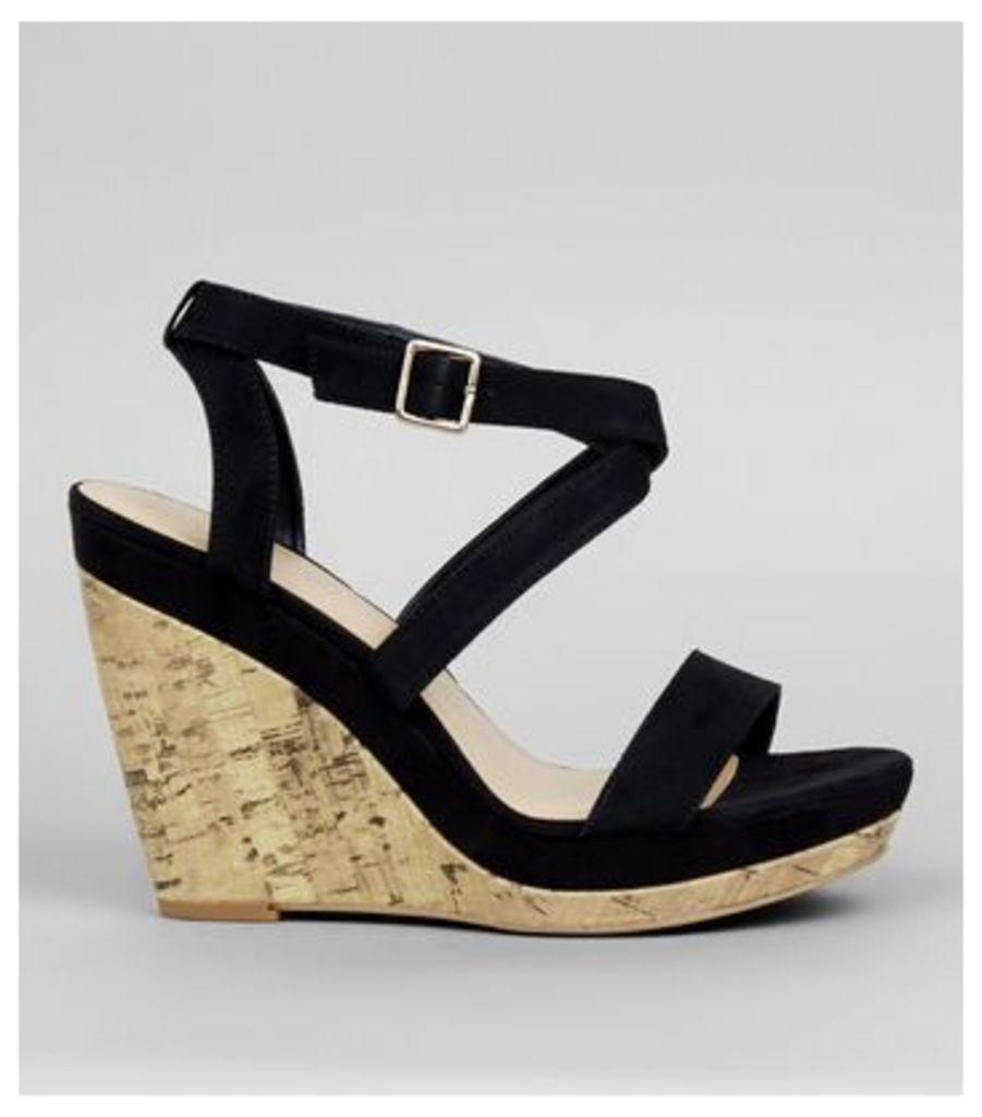 Black Multi Strap Wedge Sandals