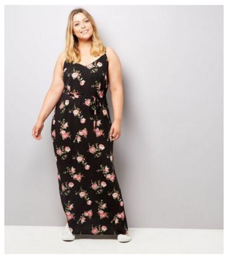 Curves Black Rose Floral Print Maxi Dress