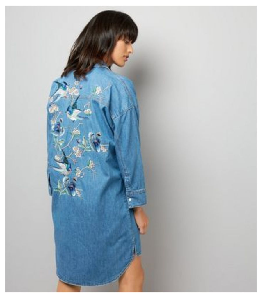 Blue Embroidered Back Oversized Shirt Dress