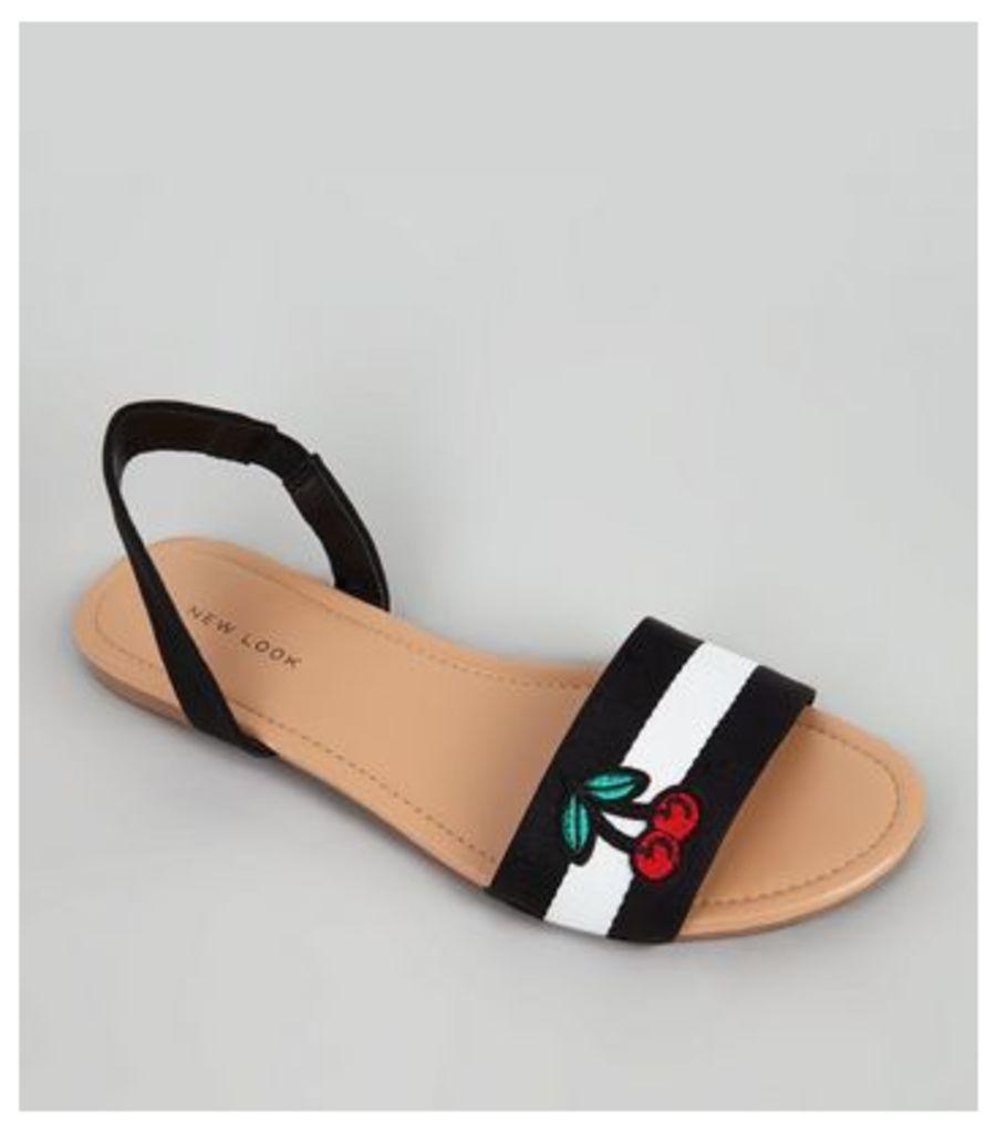Black Stripe Applique Cherry Sandals