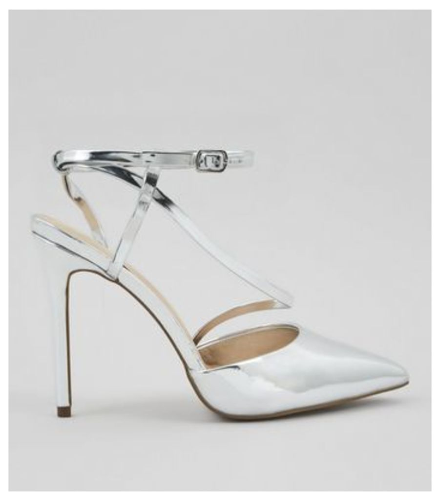 Silver Asymmetric Strap Top Pointed Heels