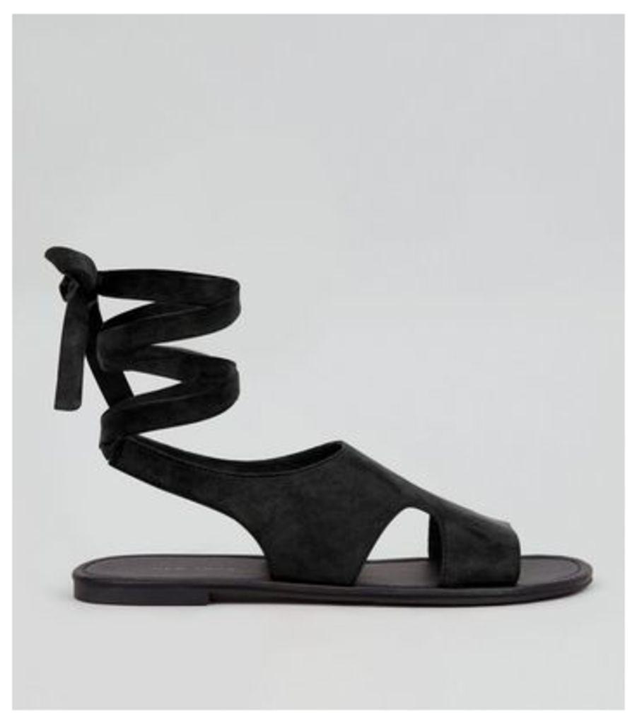 Black Suedette Cut Out Tie Back Sandals