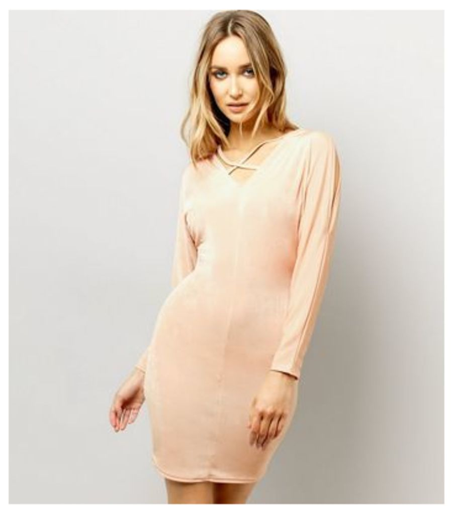 Shell Pink Batwing Sleeve Cross Strap Front Bodycon Dress
