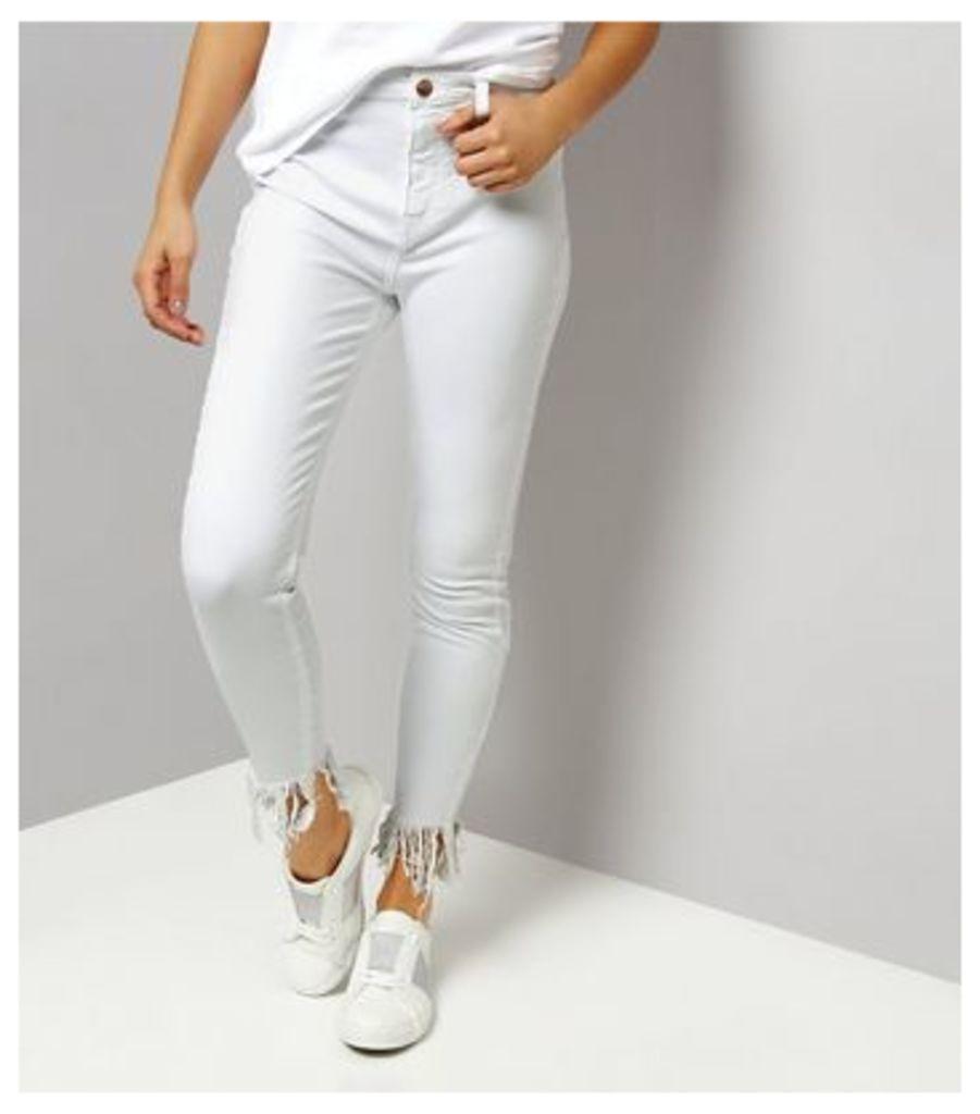 White Flared Fray Hem Skinny Jeans