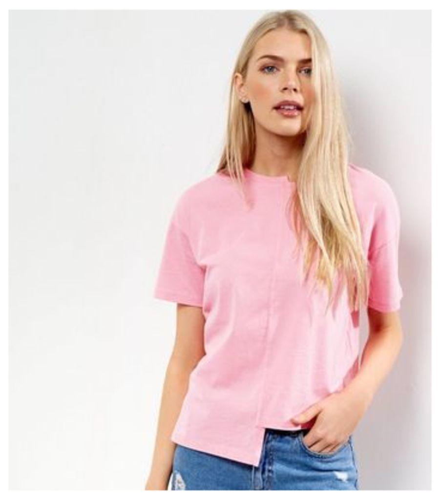 Pink Asymmetric Spliced T-Shirt