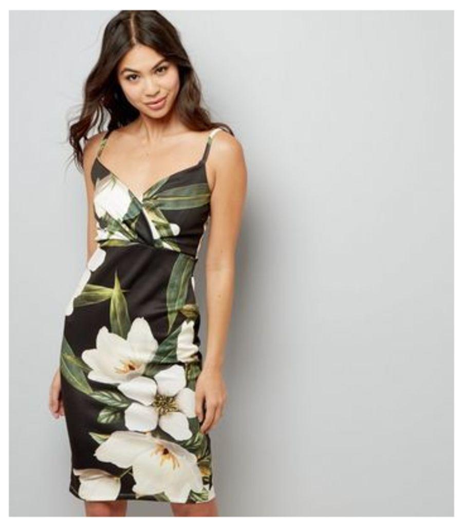 Black Floral Print V Neck Midi Dress
