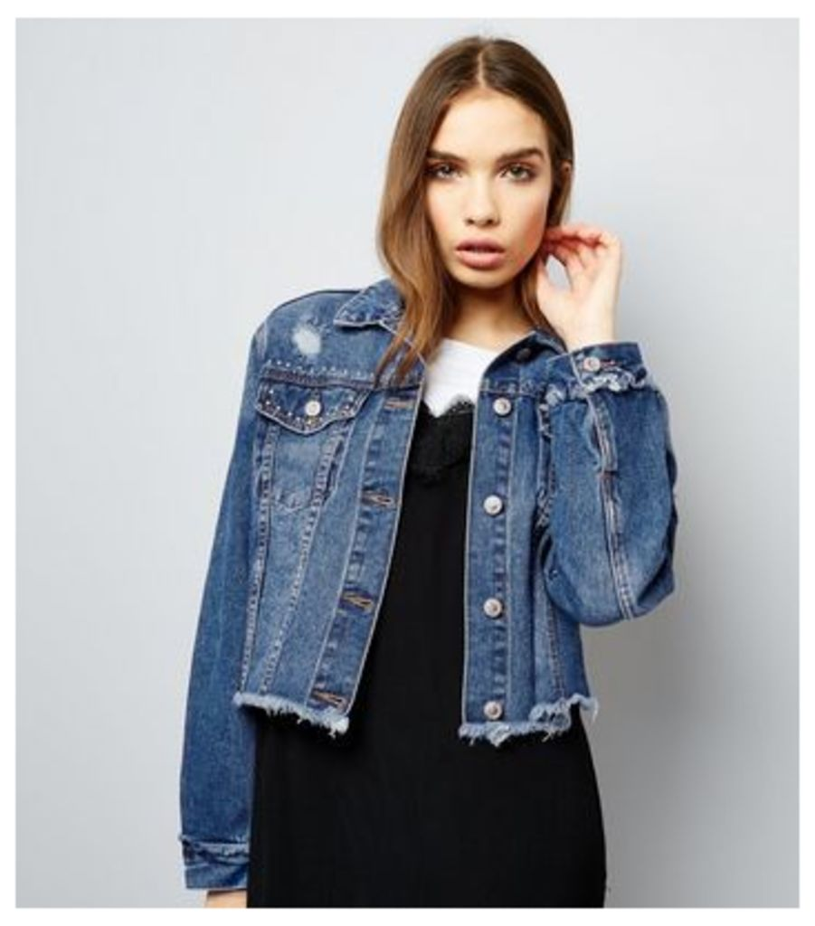 Dark Blue Frayed Hem Studded Cropped Denim Jacket
