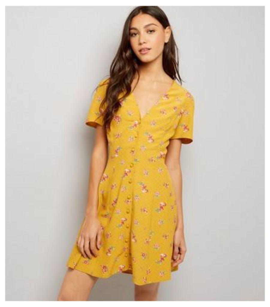 Orange Ditsy Floral Print Button Front Dress