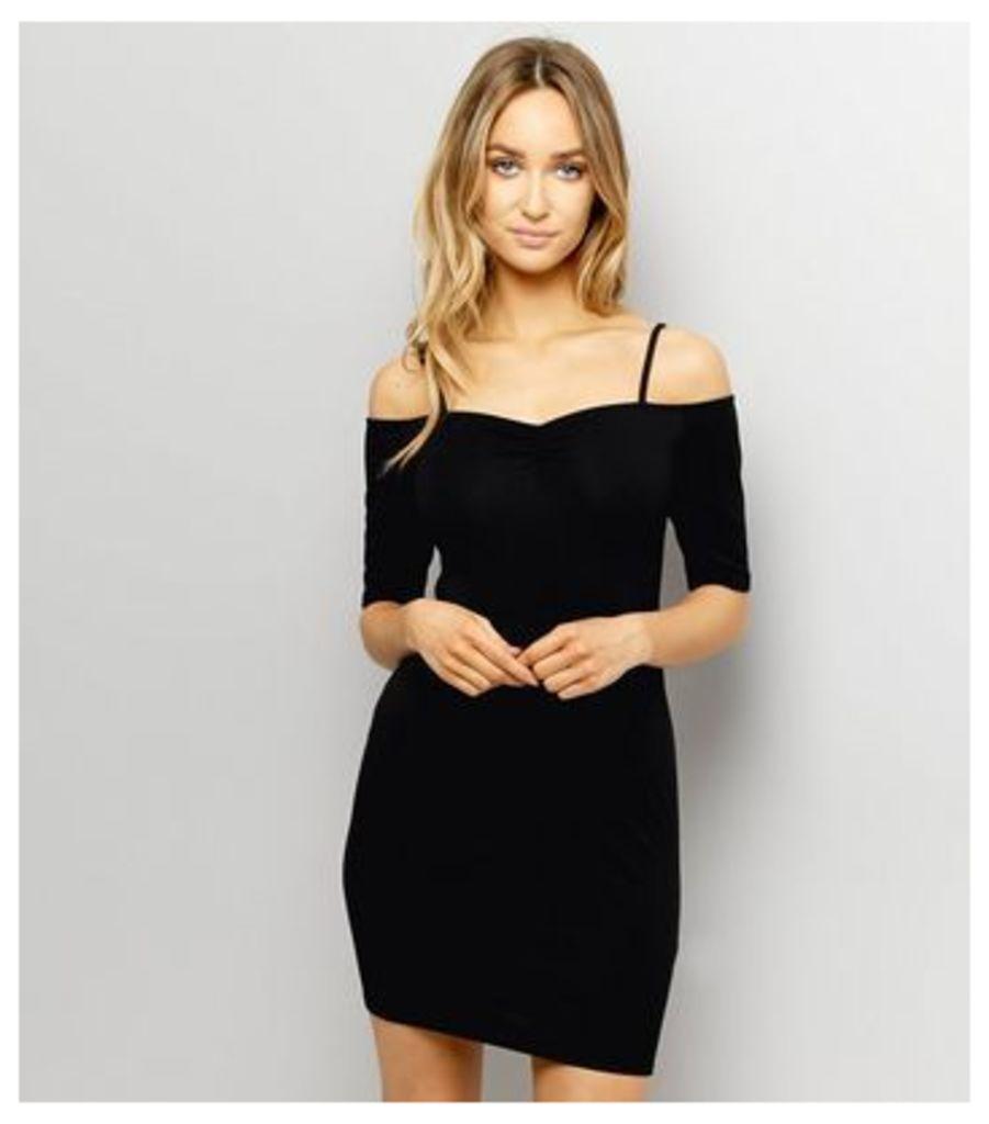 Black Strappy Bardot Bodyon Dress