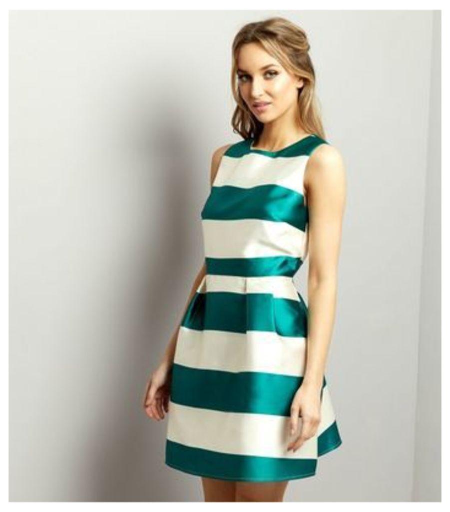 White Sateen Contrast Stripe Shift Dress