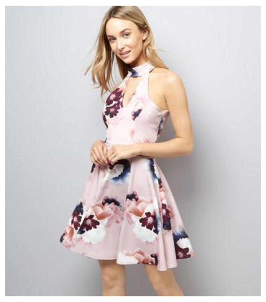 Pink Floral Print Choker Neck Skater Dress