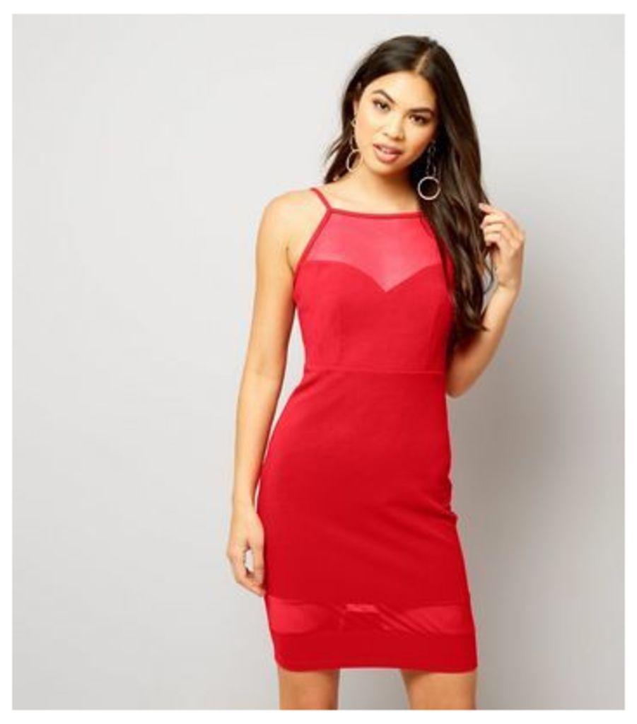 Red Mesh Panel Bodycon Mini Dress