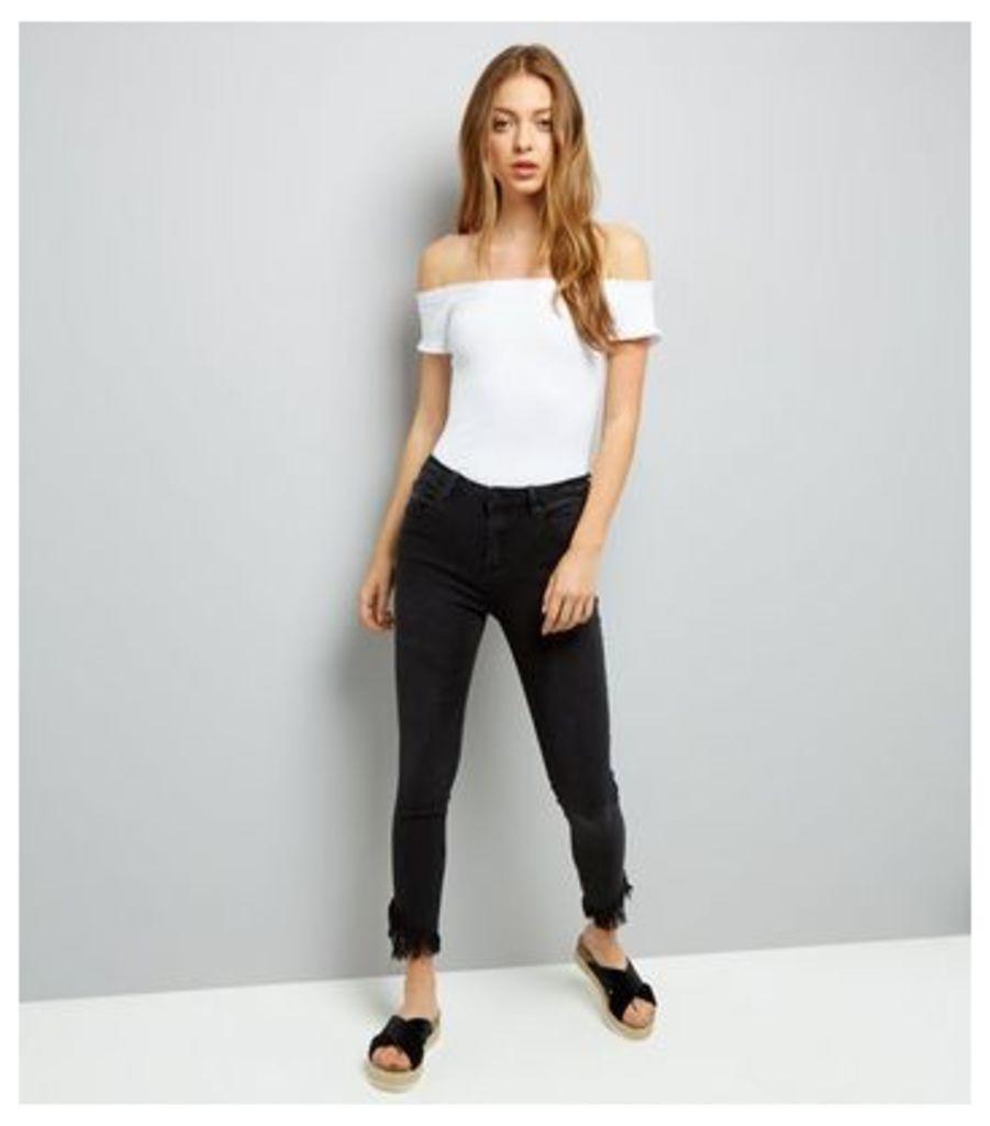 Black Frayed Angled Hem Skinny Jeans